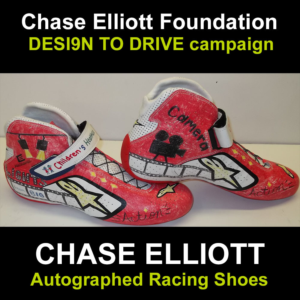 Chase Elliott autographed racing shoes for charity
