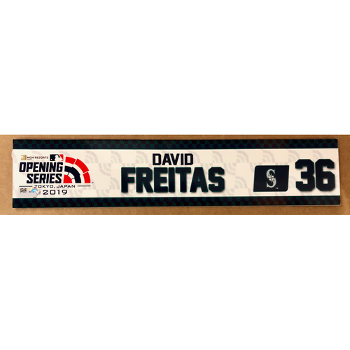 Photo of 2019 Japan Opening Day Series - Game Used Locker Tag - David Freitas -  Seattle Mariners