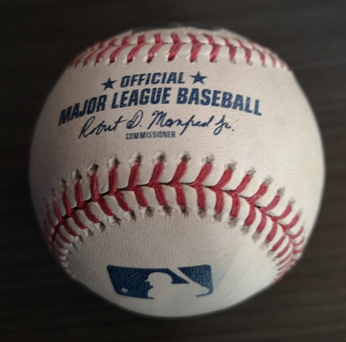 Photo of Authenticated Game Used Baseball: Foul by Curtis Granderson against Max Scherzer (June 16, 18 vs WAS). Bottom 5.