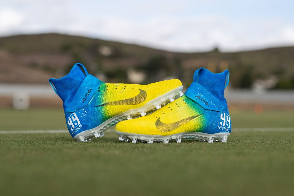 My Cause My Cleats - Rams Aaron Donald Custom Cleats - Supports the Aaron Donald 99 Solutions Foundation