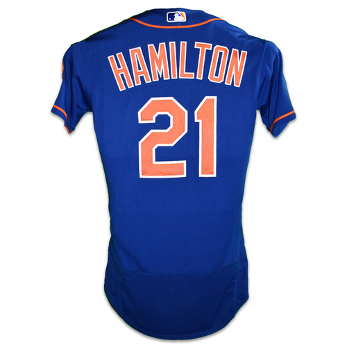 Photo of Billy Hamilton #21 - Team Issued Blue Alt. Home Jersey - 2020 Season