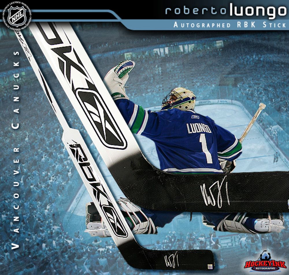 ROBERTO LUONGO Signed RBK Goal Stick - Vancouver Canucks