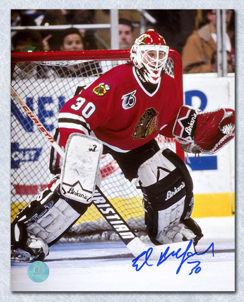 Ed Belfour Chicago Blackhawks Autographed Goalie Action 8x10 Photo