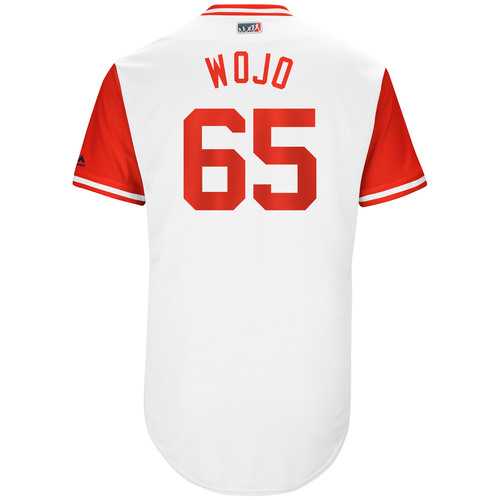 "Photo of Asher ""Wojo"" Wojciechowski Cincinnati Reds Game-Used Players Weekend Jersey"