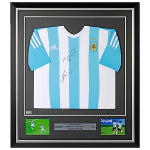 Photo of L/E #1 of 10 Lionel Messi & Sergio Aguero Front Signed and Pre-Framed Argenti...