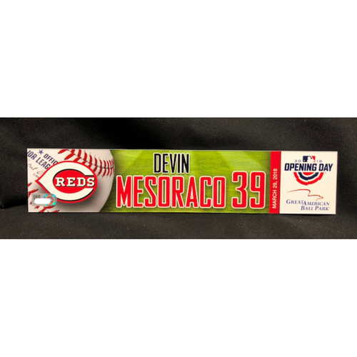 Photo of Devin Mesoraco Opening Day Locker Name Plate -- WSH vs. CIN on 3/30/18