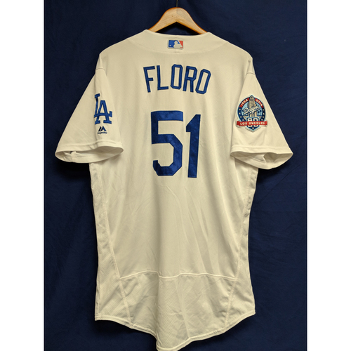 Photo of Dylan Floro Game-Used Home Jersey from Regular Season Tie Breaker Game - COL vs LAD - 10/1/18