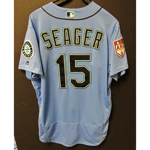 Photo of Kyle Seager Team Issued Light Blue Spring Training Jersey 2019  Exhibition Game - SD @ SEA 3-26-2019