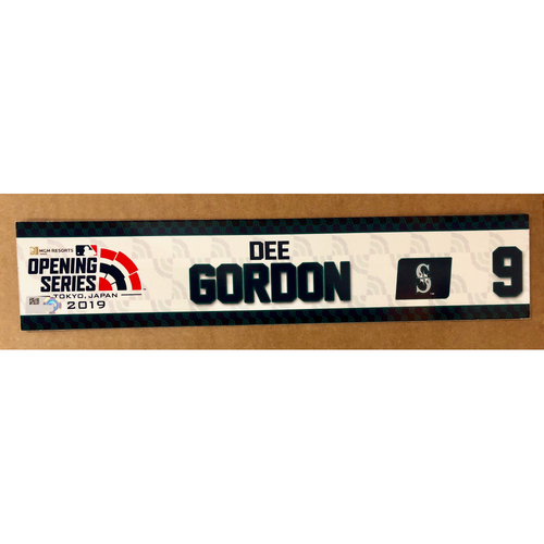 Photo of 2019 Japan Opening Day Series - Game Used Locker Tag - Dee Gordon -  Seattle Mariners