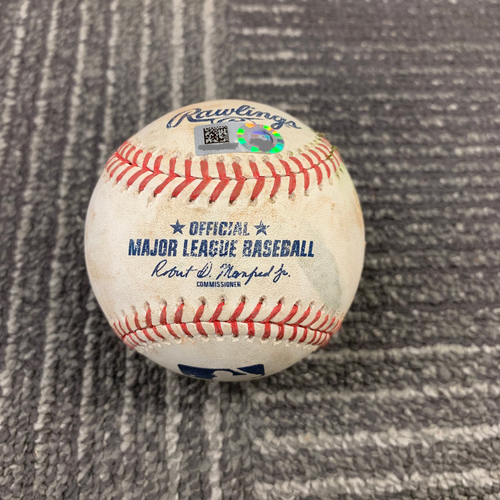Photo of 2019 Game Used Baseball vs. San Diego Padres - 6/12/19 - T-3: Shaun Anderson - Eric Hosmer - RBI Double to LF (Machado Scores). Also Manny Machado Singles to RF & Fernando Tatis Jr. Strikes Out Swinging