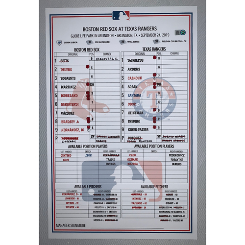 Photo of Boston Red Sox VS Texas Rangers September 24, 2019 Game Used Lineup Card - Red Sox Win 12 to 10