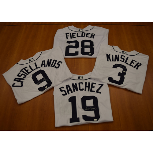 Photo of Nicholas Castellanos, Prince Fielder, Ian Kinsler and Anibal Sanchez Detroit Tigers Autographed Jersey Collection (MLB Authenticated)