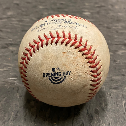 Photo of 2019 Game Used Opening Day Baseball used on 4/5 vs. Tampa Bay Rays - T-1 Dereck Rodriguez to Brandon Lowe - RBI Double to RF (Choi Scores) (Also First Pitch of the Game)