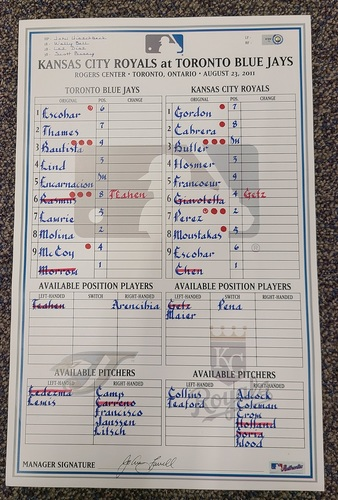 Photo of Authenticated Game Used Lineup Card (August 23, 2011 vs KCR): Eric Hosmer HR for Royals