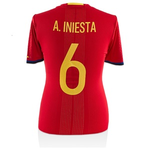 Photo of Andres Iniesta Front Signed and Match Worn Spain 2015-16 Home Shirt