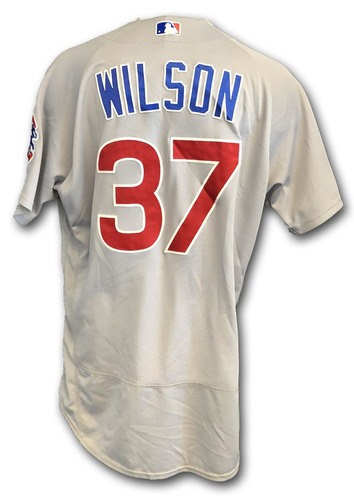 Photo of Justin Wilson Game-Used Jersey -- Cubs at White Sox -- 9/22/18 -- Wilson 0.1 IP, 1 K; Also Worn Opening Day 2018 -- Cubs at Marlins -- 3/29/18 -- Wilson 1 IP, 0 ER, 1 K