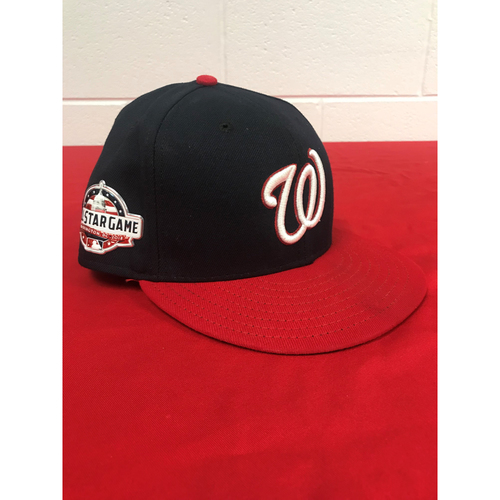 Photo of Juan Soto Game-Used 2018 Blue (Red Bill) Cap with All Star Game Patch