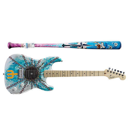 Photo of One-of-a-kind Artist-Painted Mariners Louisville Slugger Bat and Fender Stratocaster Guitar