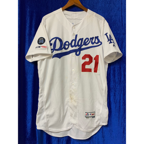 sale retailer f61db fb235 Dodgers Auctions | Walker Buehler Game Used Home Jersey - 8 ...