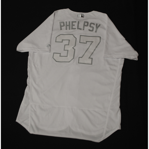 """Photo of David """"PHELPSY"""" Phelps Chicago Cubs Game-Used 2019 Players' Weekend Jersey"""