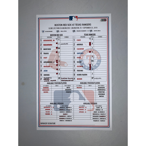 Photo of Boston Red Sox VS Texas Rangers September 25, 2019 Game Used Lineup Card - Red Sox Win 10 to 3