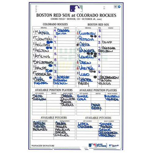 Photo of 2007 World Series Game Used Lineup Card -  Boston Red Sox at Colorado Rockies- Game #4 (10-28-2007)