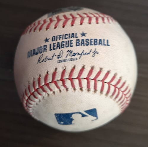 Photo of Authenticated Game Used Baseball: Foul by Juan Soto against Tyler Clippard (June 17, 18 vs WAS). Top 8.