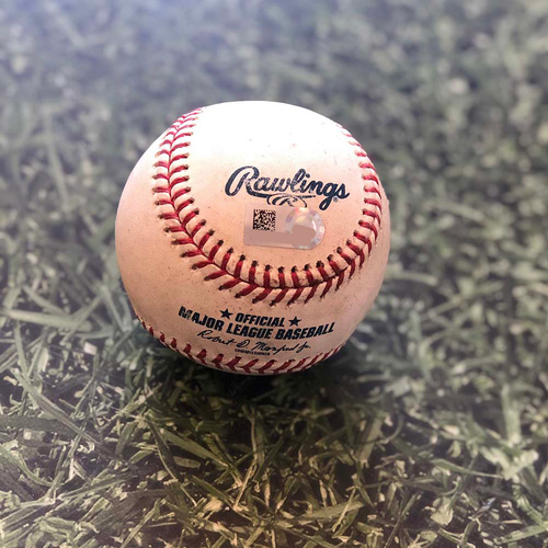 Game-Used Baseball: 09/05/18 CHC Burnes - Happ: Single