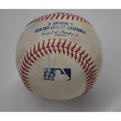 Photo of Game-Used Baseball - 2020 ALDS - New York Yankees vs. Tampa Bay Rays - Game 2 - Pitcher: Deivi Garcia, Batter: Randy Arozarena (Home Run to RF) - Bot 1