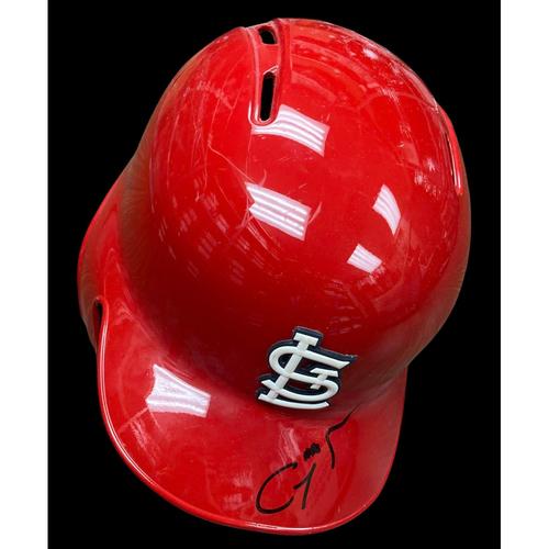 Génesis Cabrera Autographed Game Used Red Batting Helmet w/ 2019 Postseason Patch (06/04/2019, CIN @ STL) (No Size)
