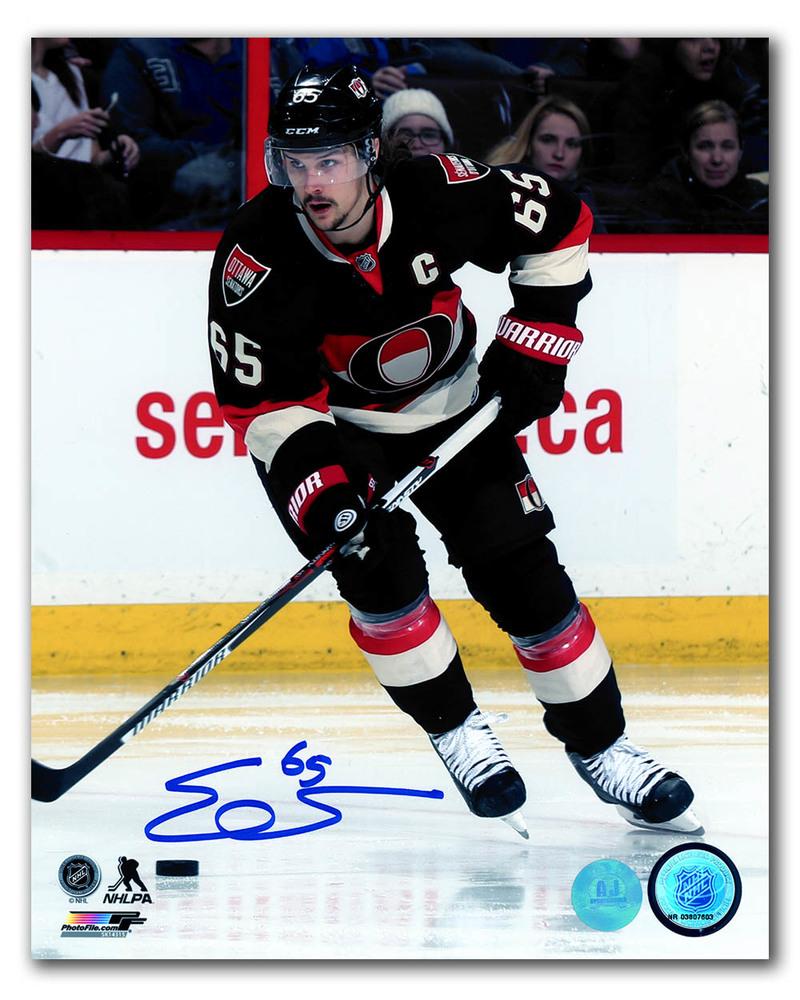 Erik Karlsson Ottawa Senators Autographed Retro Jersey Game Action 8x10