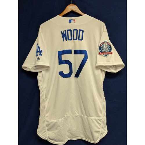 Photo of Alex Wood Game-Used Home Jersey from Regular Season Tie Breaker Game - COL vs LAD - 10/1/18