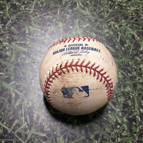 Photo of Game-Used Baseball MIN@MIL 06/25/11 - Francisco Liriano - Carlos Gomez: Foul