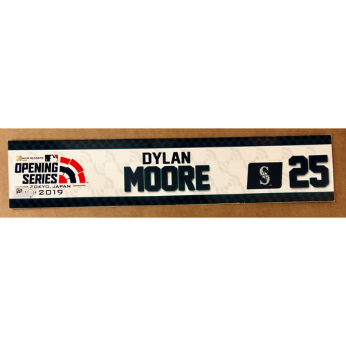 Photo of 2019 Japan Opening Day Series - Game Used Locker Tag - Dylan Moore -  Seattle Mariners