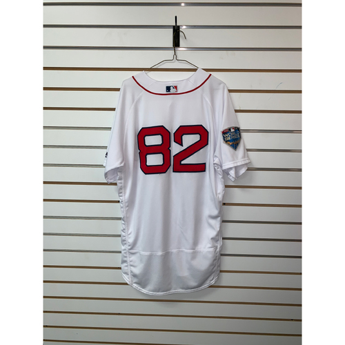 Photo of Tom Goodwin Game Used October 23, 2018 World Series Game 1 Home Jersey