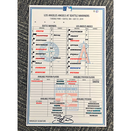 Photo of Seattle Mariners 2019 Game-Used Lineup Card - Hall of Fame Weekend - July 21 vs. Angels