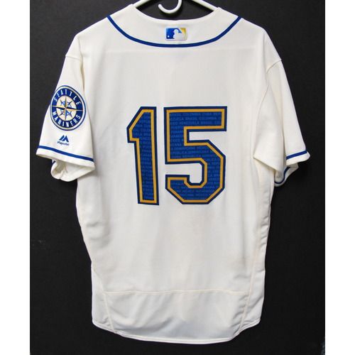 Photo of Seattle Mariners Kyle Seager Game-Used Marineros Jersey (Salute to Latin American) 9-15-2019