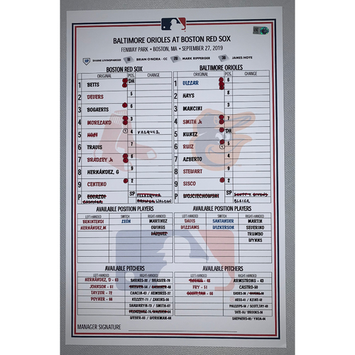 Photo of Baltimore Orioles VS Boston Red Sox September 27, 2019 Game Used Lineup Card - Orioles Win 4 to 1