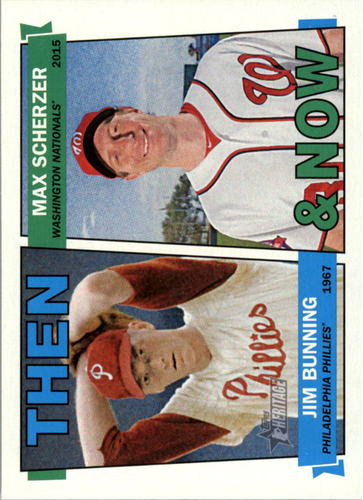 Photo of 2016 Topps Heritage Then and Now #TANBS Jim Bunning/Max Scherzer