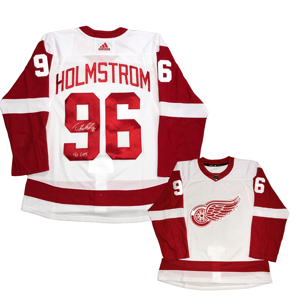 TOMAS HOLMSTROM Signed Detroit Red Wings White Adidas PRO Jersey - 4x Cups