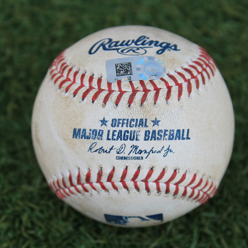 Photo of Game-Used Baseball: Francisco Lindor 136th Career Home Run & 400th, 401st Career RBIs (CLE @ KC 9/1/20)