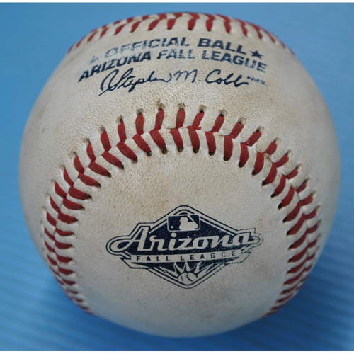 Photo of Game-Used Baseball - 2018 Arizona Fall League - Pitcher: Jordan Yamamoto, Batter: Keston Hiura - 3rd Inning - Groundout