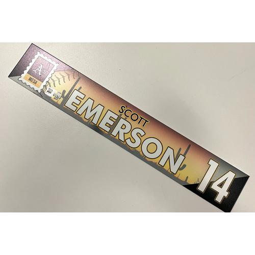 Photo of Game-Used 2021 Spring Training Locker Nameplate - Scott Emerson