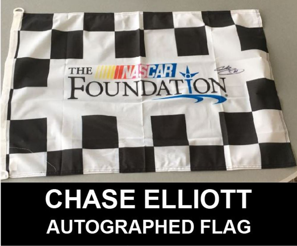 NASCAR Foundation flag Autographed by Monster Energy NASCAR Cup Series Driver Chase Elliott