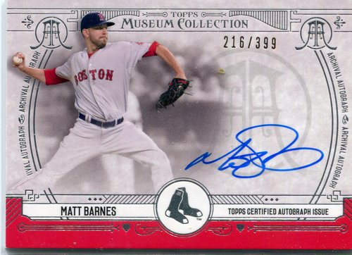 Photo of 2015 Topps Museum Collection Archival Autographs Matt Barnes 216/399 -- Red Sox post-season