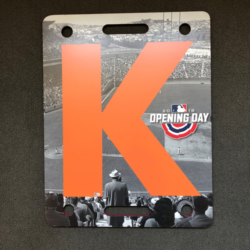 Photo of San Francisco Giants - 2018 Opening Day K Board, T-9 Cory Gearrin Strikes out Robinson Cano