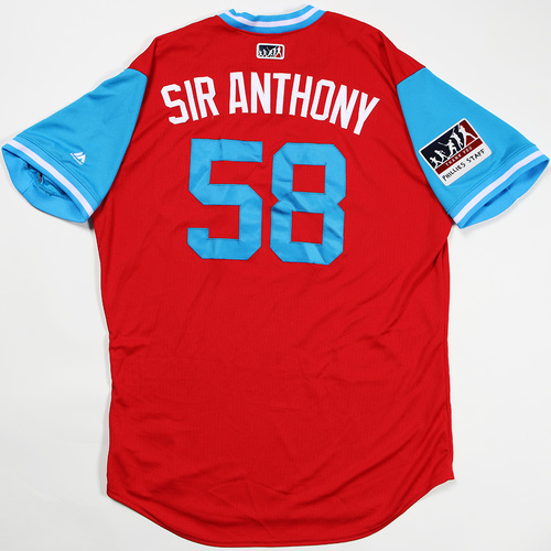 "Photo of Seranthony ""Sir Anthony"" Dominguez Philadelphia Phillies Game-Used Jersey 2018 Players' Weekend Jersey"
