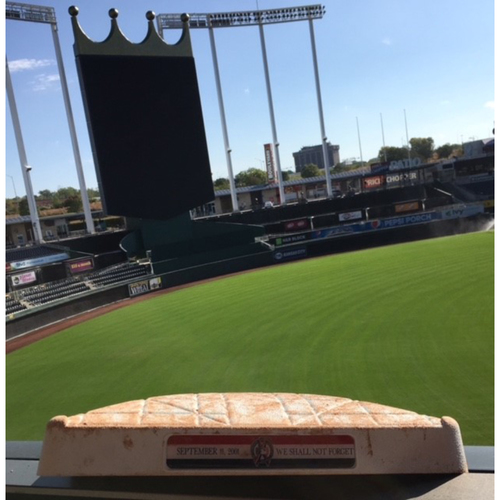 Photo of Kansas City Royals Game-Used 3rd Base (Innings 1-5) Base from Armed Forces Night - 9/11/18