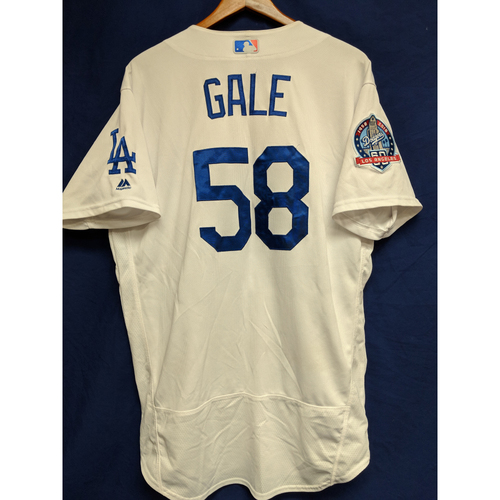 Photo of Rocky Gale Game-Used Home Jersey from Regular Season Tie Breaker Game - COL vs LAD - 10/1/18