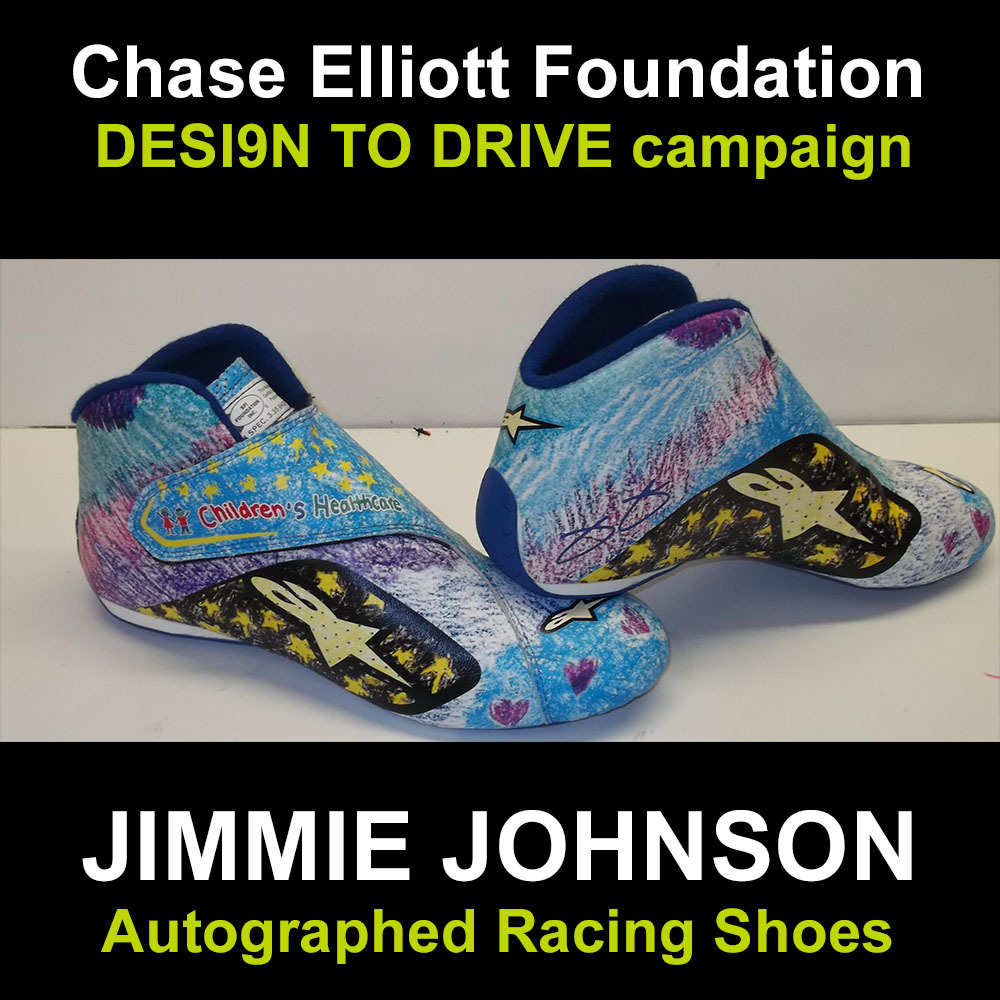 Jimmie Johnson autographed racing shoes for charity